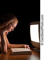 lavorativo, luce, computer, lettura ragazza, libro