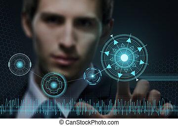 lavorativo, moderno, giovane, virtuale, uomo affari, tecnologia