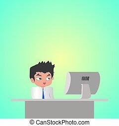 lavorativo, momento, computer, fronte, felice, uomo