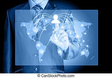 lavorativo, mostra, moderno, computer, nuovo, uomo affari