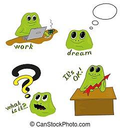 lavorativo, processo, illustrazione, vettore, rana verde