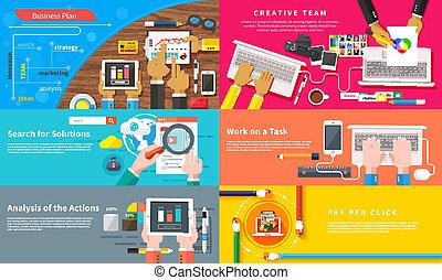 lavorativo, squadra, giovane, creativo, team., disegno, scrivania