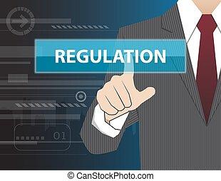 lavorativo, toccante, uomo affari, moderno, regolazione, virtuale, tecnologia, mano