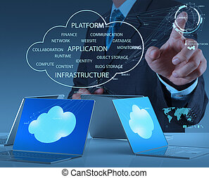 lavorativo, uomo affari, moderno, mano, tecnologia