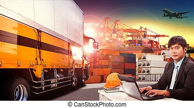 lavorativo, uomo, e, contenitore, camion, in, spedizione marittima, porto, bacino, e, nolo, aereo carico, volare, sopra, uso, per, trasporto, e, logistico, indutry
