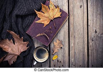 lavorato maglia, caffè, vecchio, maglione, libro, autunno, tazza, foglie