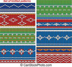 lavorato maglia, ornamentale, 9, set, seamles