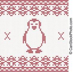 lavorato maglia, pinguino