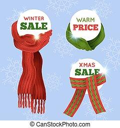 lavorato maglia, sciarpa, vendita, scheda