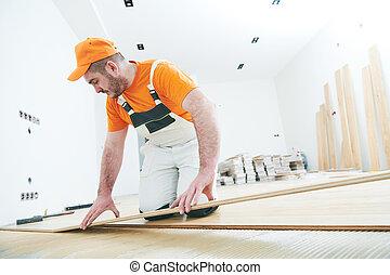 lavoratore, accoppiamento, parket, floor., rallentato