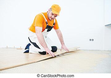 lavoratore, accoppiamento, parquet, floor.
