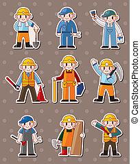 lavoratore, adesivi, cartone animato