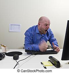 lavoratore, arrabbiato, suo, colpo, tastiera