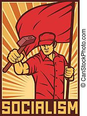 lavoratore, bandiera, martello, presa a terra