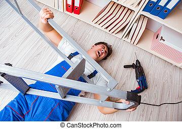 lavoratore, cadere, concetto, pericoloso, comportamento