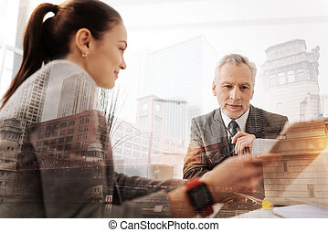 lavoratore, capo, allegro, parlare, femmina, professionall