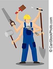 lavoratore, carattere, illustrazione, vettore, sovrumano, cartone animato