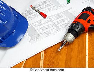 lavoratore, carpentiere, attrezzi