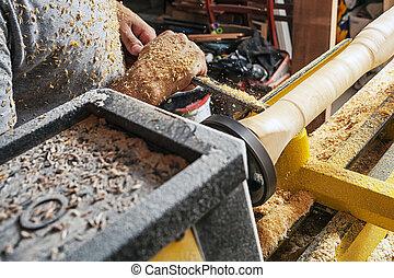 lavoratore, carpentiere, processi, uno, legno, su, uno, tornio