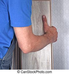 lavoratore, carpentiere, volerci, laminate