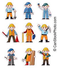 lavoratore, cartone animato, icona