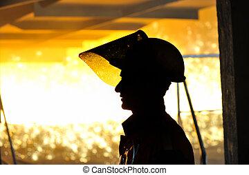 lavoratore, con, caldo, acciaio