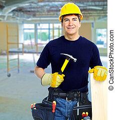 lavoratore, con, uno, attrezzo, belt.