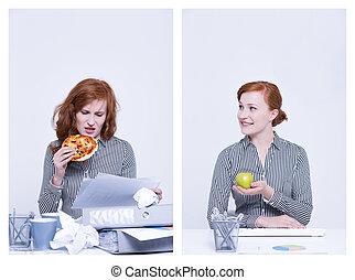 lavoratore, consumo pizza, e, mela
