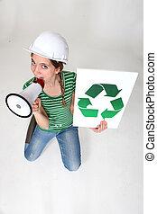 lavoratore costruzione, chiamata, lei, a, riciclare