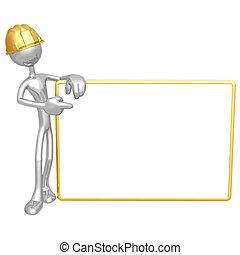 lavoratore costruzione, con, segno bianco