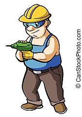 lavoratore costruzione, con, trapano