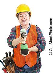 lavoratore costruzione, femmina, trapano