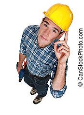 lavoratore costruzione, giovane, trapano