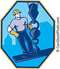 lavoratore costruzione, i-beam, trave, palla, gancio