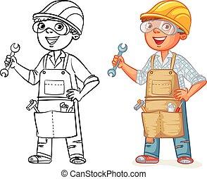 lavoratore costruzione, in, uniforme