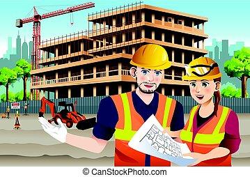 lavoratore costruzione, lavorativo, femmina