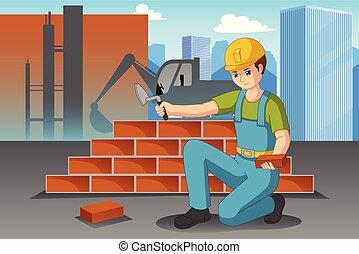 lavoratore costruzione, lavorativo, illustrazione