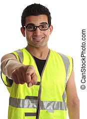 lavoratore costruzione, lei, indicare, costruttore