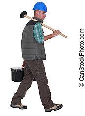 lavoratore costruzione, portante, attrezzi