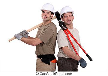 lavoratore costruzione, presa a terra, resistente, attrezzi