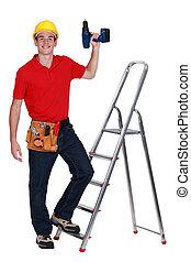 lavoratore costruzione, trapano