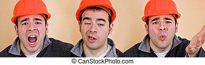 lavoratore costruzione, tripletti