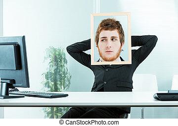 lavoratore, divertente, concetto, sospettoso, ufficio