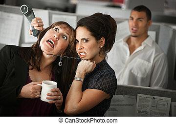 lavoratore, donna, strangles, ufficio