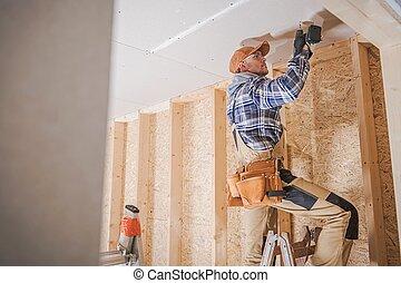 lavoratore, fissaggio, drywall