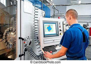 lavoratore, funzionante, cnc, macchina, centro
