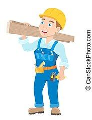 lavoratore, giovane, illustrazione, vettore, hummer., cartone animato