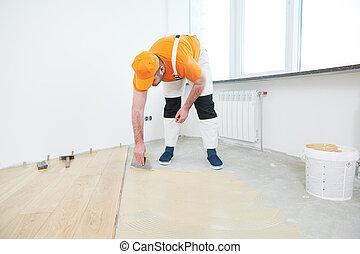 lavoratore, gluing, legno, parquet, floor.