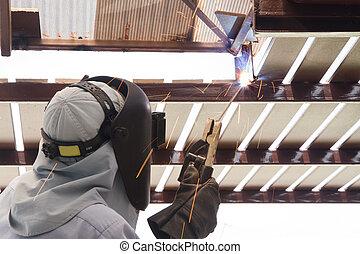 lavoratore industriale, acciaio saldatura, tubo, flangia, scintilla, welding.