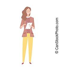 lavoratore, lungo, cartone animato, donna, capelli, ondulato, vettore